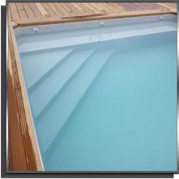 Kit piscine 9x4x1.5m escalier angle + banquette 50cm