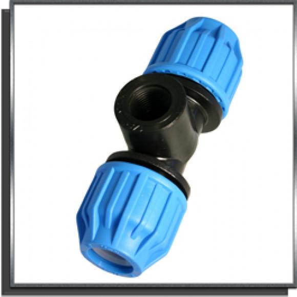 raccord t de compression femelle 1 pour tuyau poly thyl ne 32 cot eau