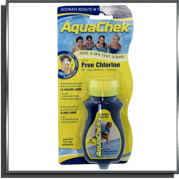 Aquachek Jaune test chlore libre bandelettes