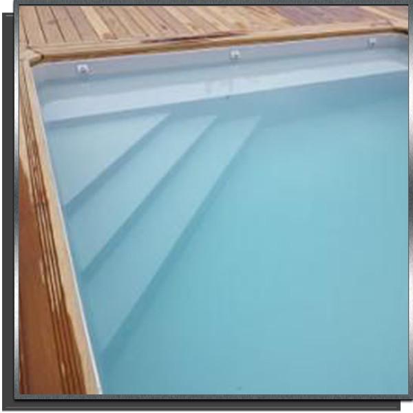 Kit piscine 8x4x1.5m escalier angle + banquette 50cm